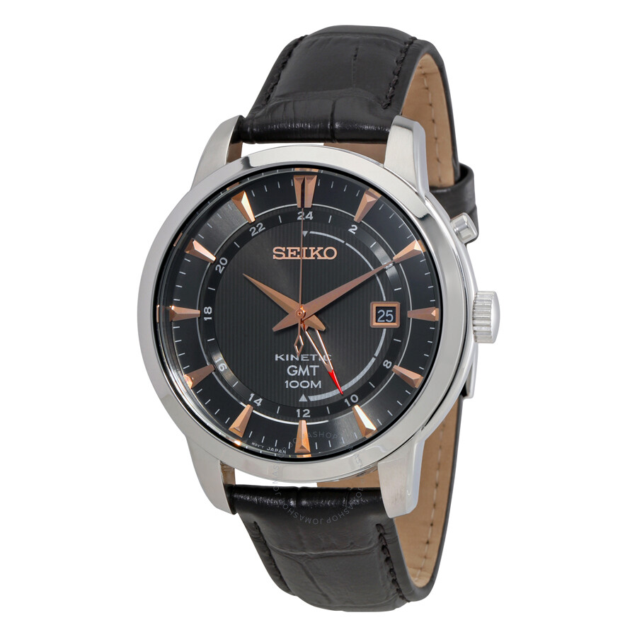 Seiko kinetic gmt black dial men 39 s watch sun063 kinetic seiko watches jomashop for Seiko kinetic watches