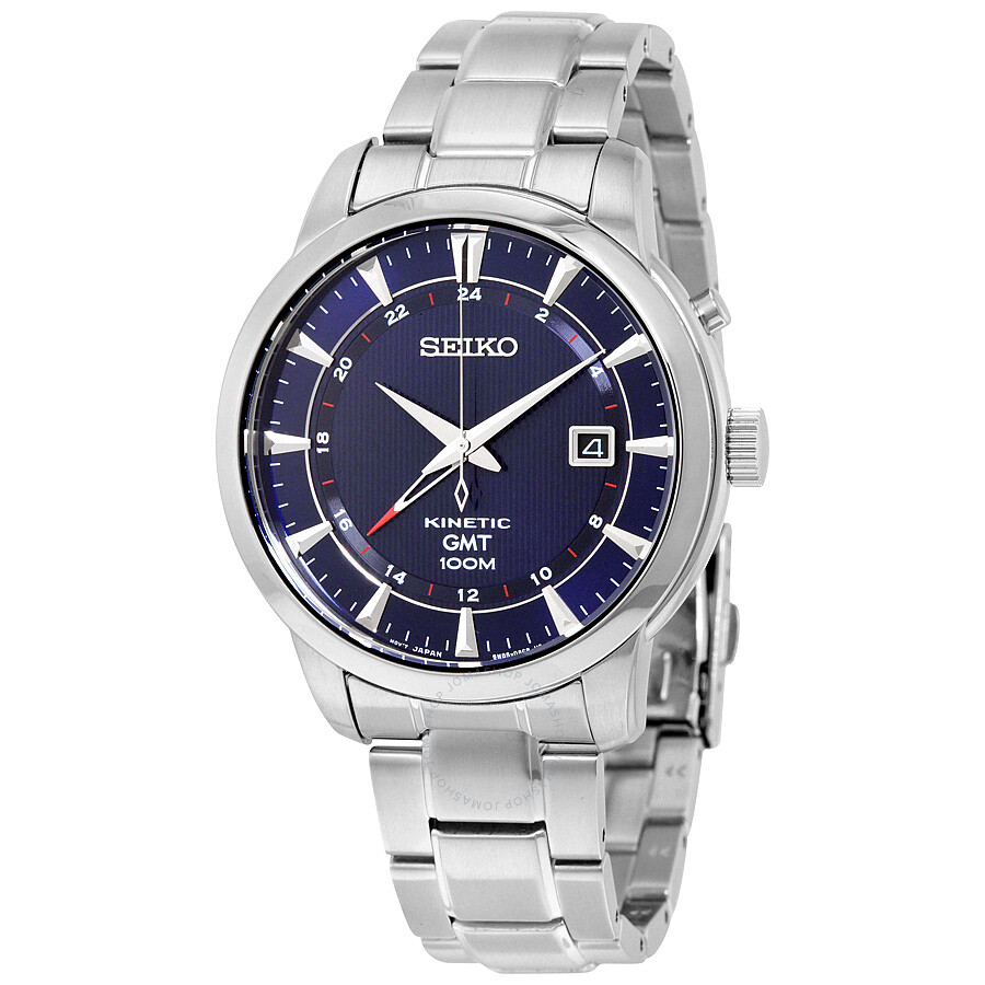 Seiko kinetic gmt blue dial stainless steel men 39 s watch sun031 kinetic seiko watches for Seiko kinetic watches