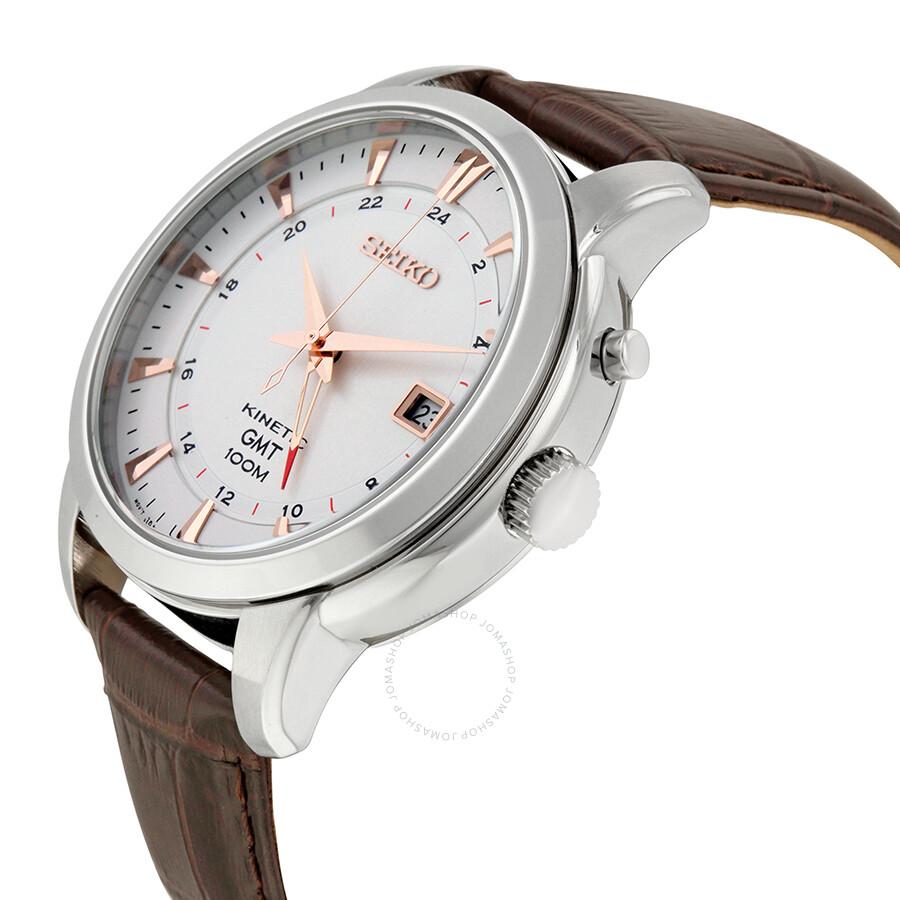Seiko kinetic gmt tan dial brown leather men 39 s watch sun035 kinetic seiko watches jomashop for Seiko kinetic watches
