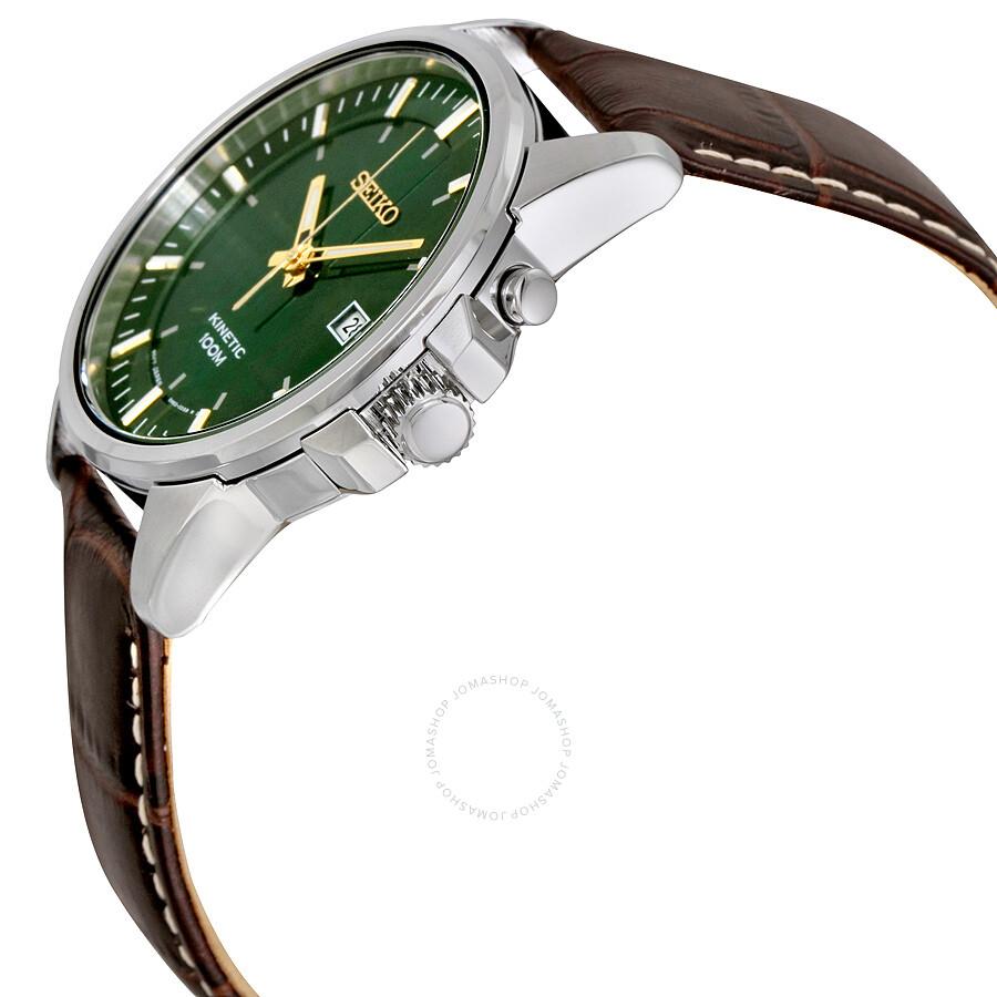Seiko Kinetic Green Dial Leather Men's Watch SKA533 ...