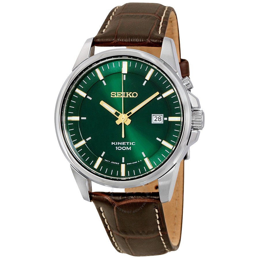 Seiko kinetic green dial leather men 39 s watch ska533 kinetic seiko watches jomashop for Seiko kinetic watches