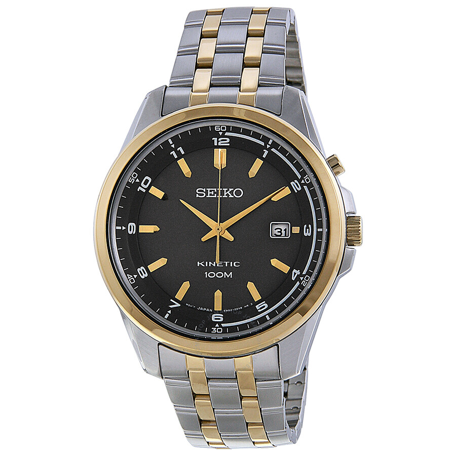 Seiko kinetic grey dial two tone men 39 s watch ska634 kinetic seiko watches jomashop for Seiko kinetic watches