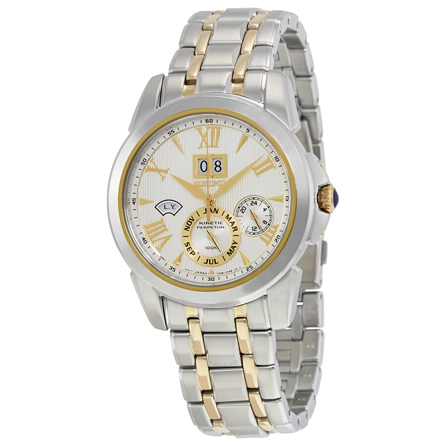 Seiko kinetic perpetual calendar men 39 s watch snp066 stainless steel seiko watches jomashop for Seiko kinetic watches