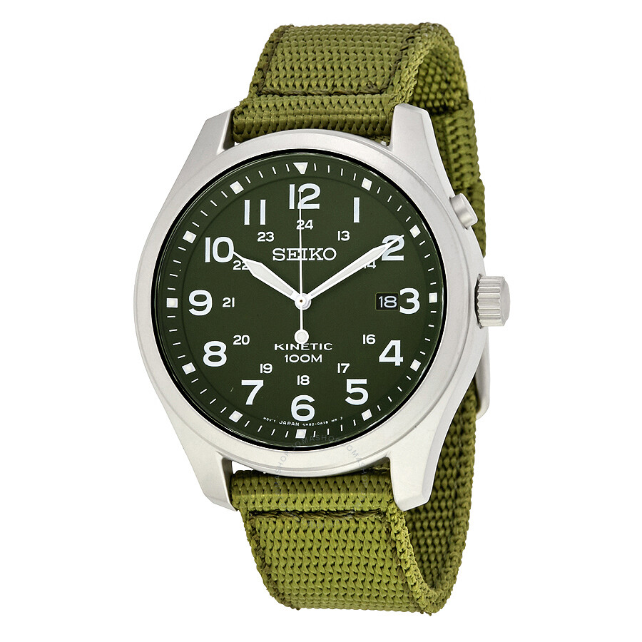 Seiko Kinetic Military Green Green Nylon Men's Watch ...