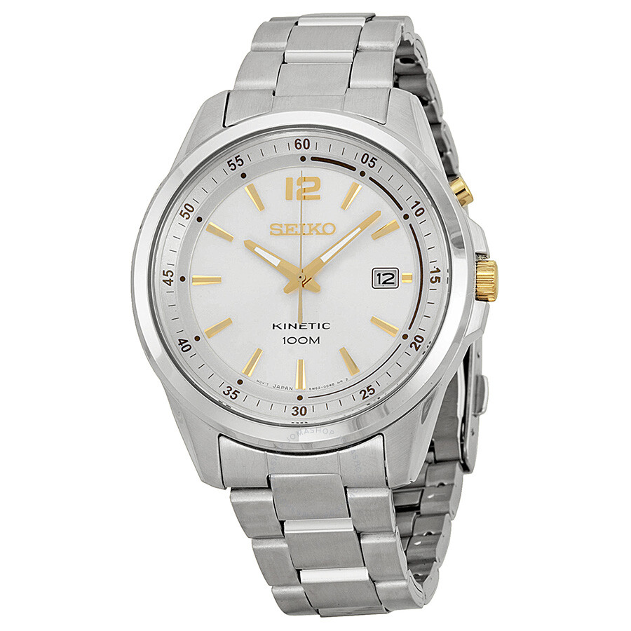 Seiko kinetic silver dial stainless steel men 39 s watch ska601 stainless steel seiko watches for Seiko kinetic watches