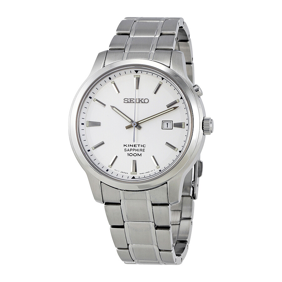 Seiko kinetic silver dial stainless steel men 39 s watch ska739 kinetic seiko watches jomashop for Movado kinetic