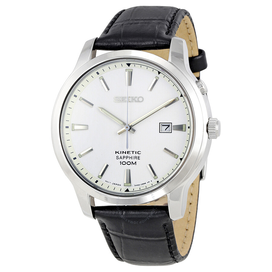 Seiko kinetic white dial black leather men 39 s watch ska743 kinetic seiko watches jomashop for Seiko kinetic watches