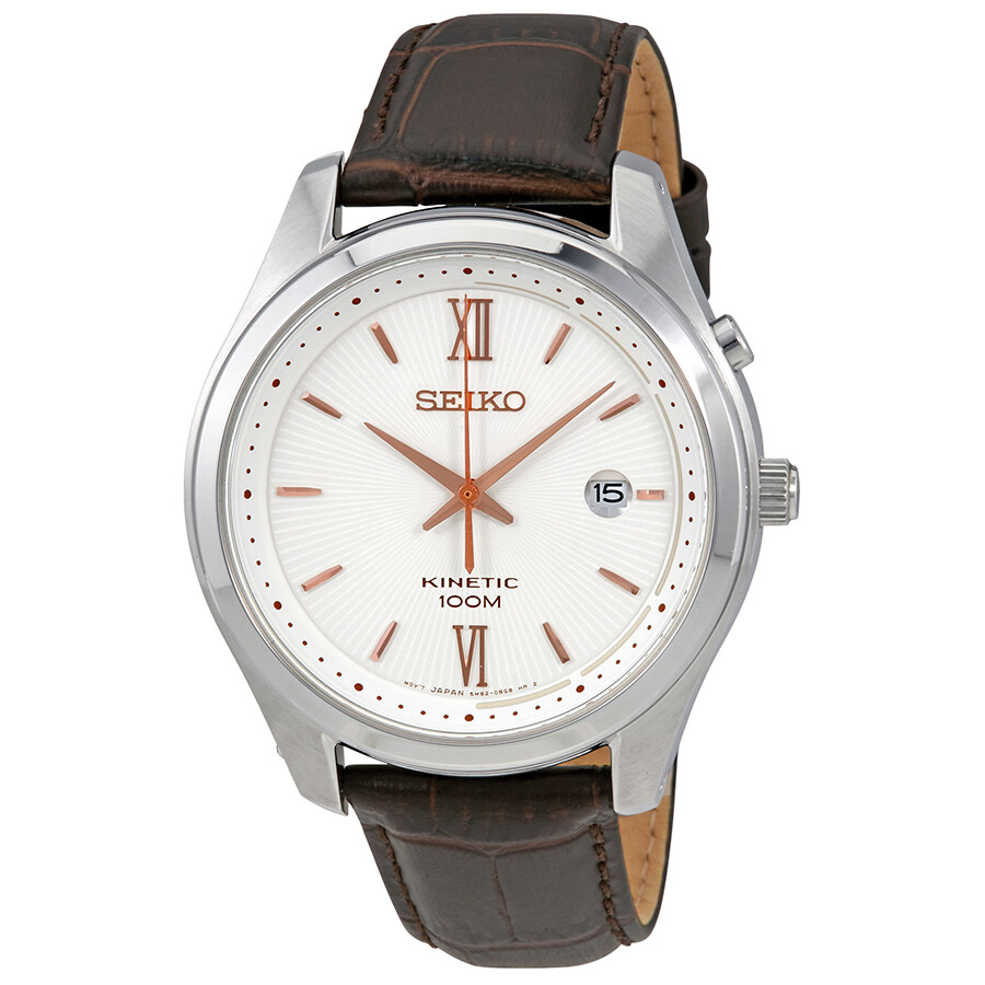 Seiko Kinetic White Dial Brown Leather Band Men S Watch Ska773