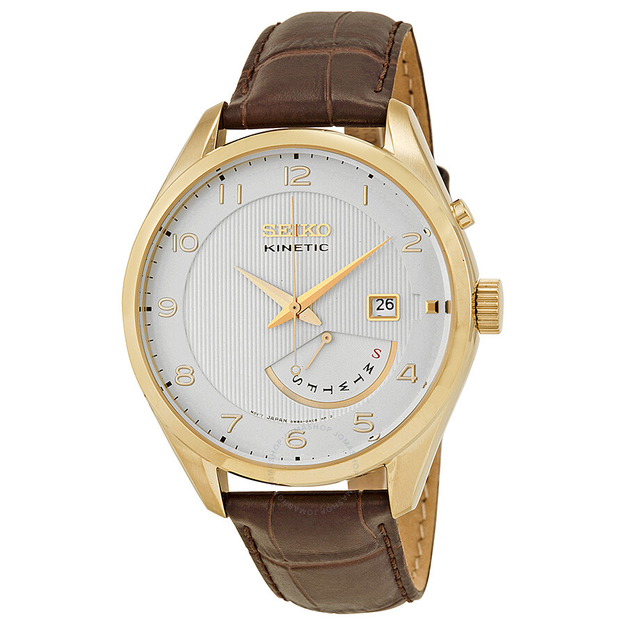 Seiko kinetic white dial brown leather men 39 s watch srn052 kinetic seiko watches jomashop for Seiko kinetic watches