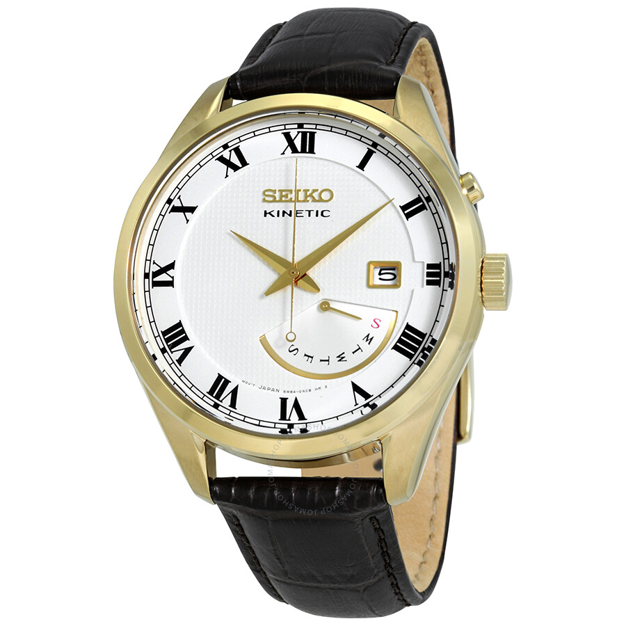 Seiko kinetic white dial men 39 s leather watch srn074 kinetic seiko watches jomashop for Seiko kinetic watches