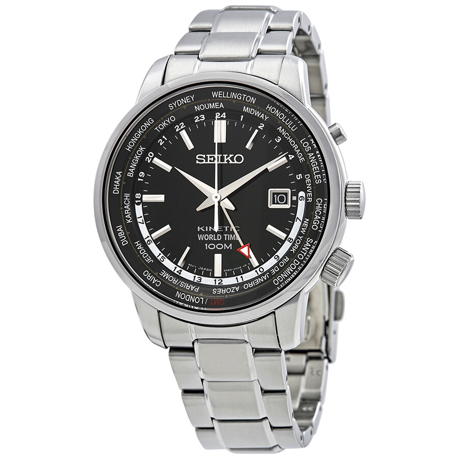 Seiko kinetic world time black dial men 39 s watch sun069p1 seiko watches jomashop for Seiko kinetic watches