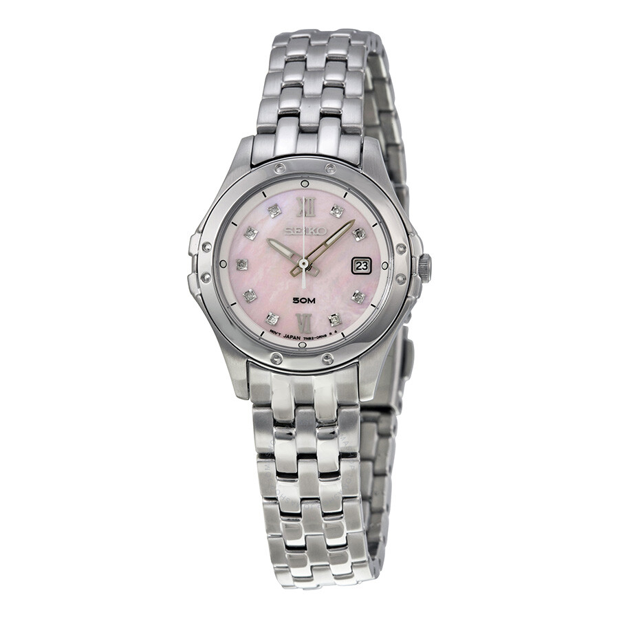 Seiko le grand sport pink mother of pearl dial stainless steel ladies watch sxde21 le grand for Pearl watches