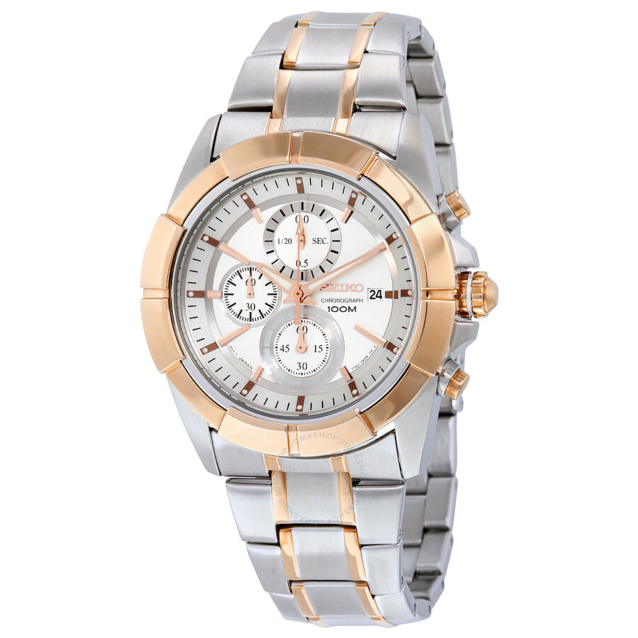 Seiko Lord Chronograph Silver Dial Two-tone Men s Watch SNDE72 ... 3b9cf2e7e12