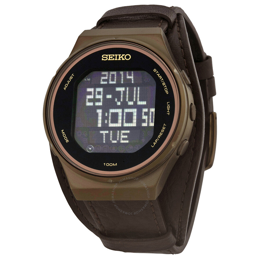 seiko matrix digital display brown leather s