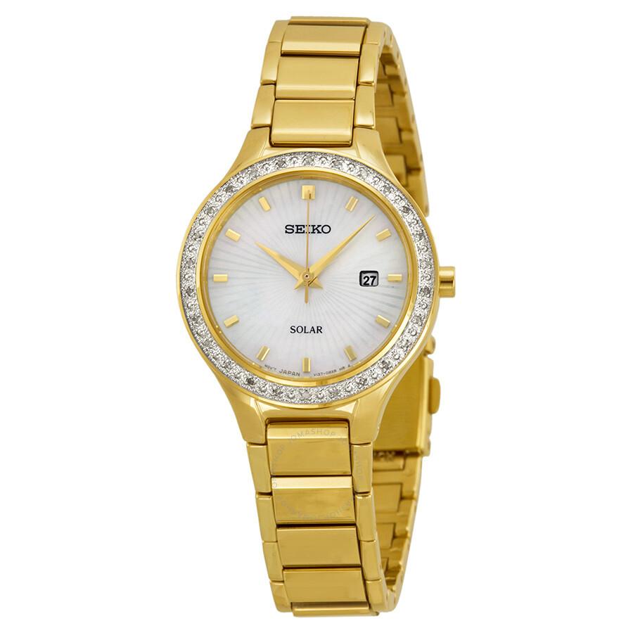 Seiko Mother of Pearl Dial Diamond Ladies Watch SUT138 ...