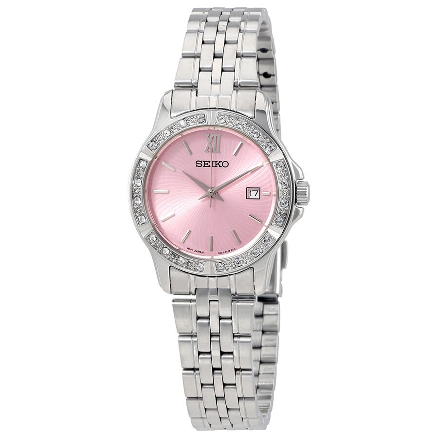 seiko pink dial stainless steel ladies watch sur739
