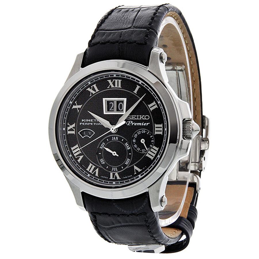 Seiko Premier Kinetic Perpetual Automatic GMT Black Dial ...