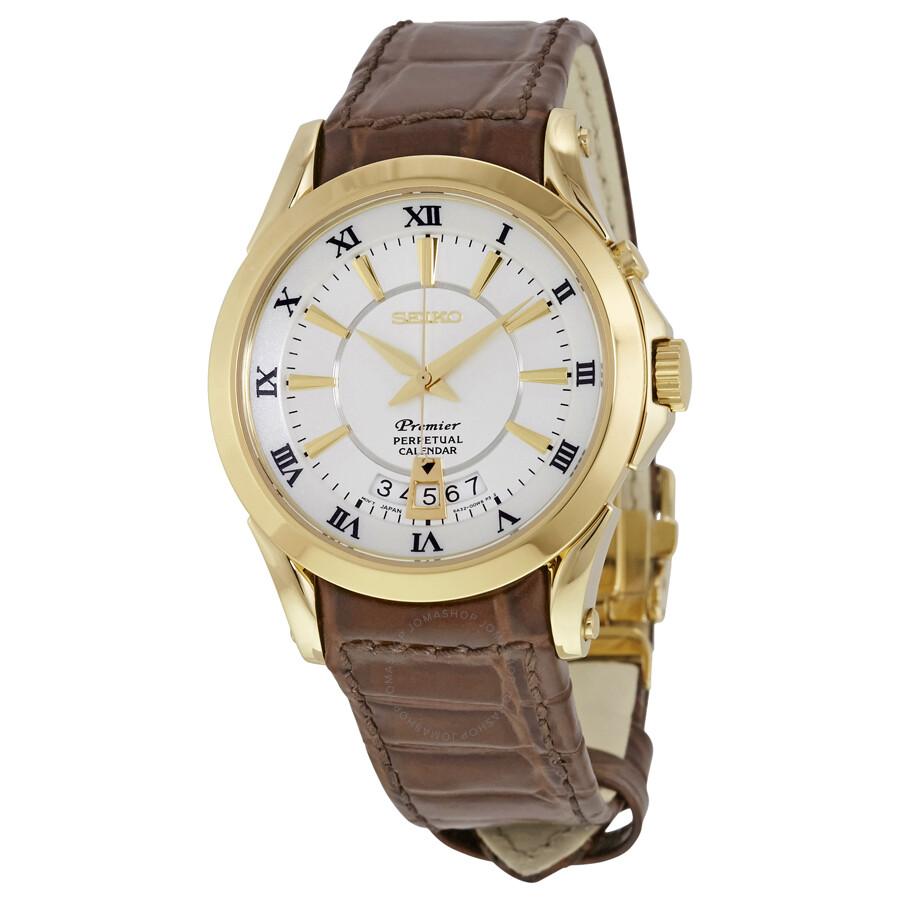 7671edd98bb Seiko Premier Perpetual Calendar White Dial Men's Watch SNQ118 ...