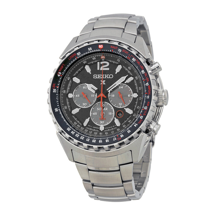 291c9e042 Seiko Prospex Aviation Solar Chronograph Black Dial Men's Watch SSC261 ...