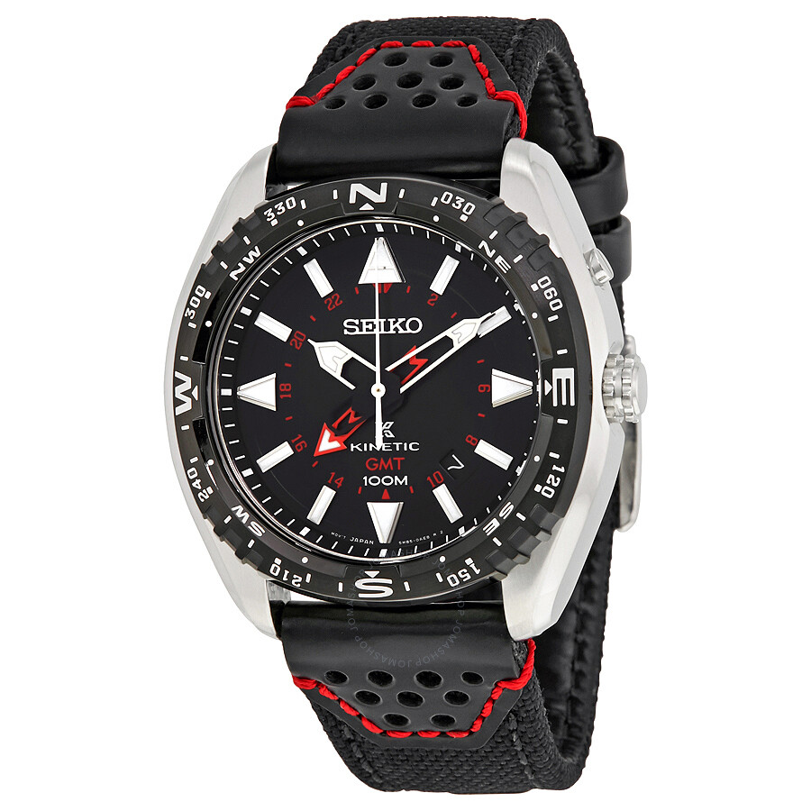 Seiko prospex kinetic gmt black dial stainless steel men 39 s watch sun049p2 prospex seiko for Movado kinetic