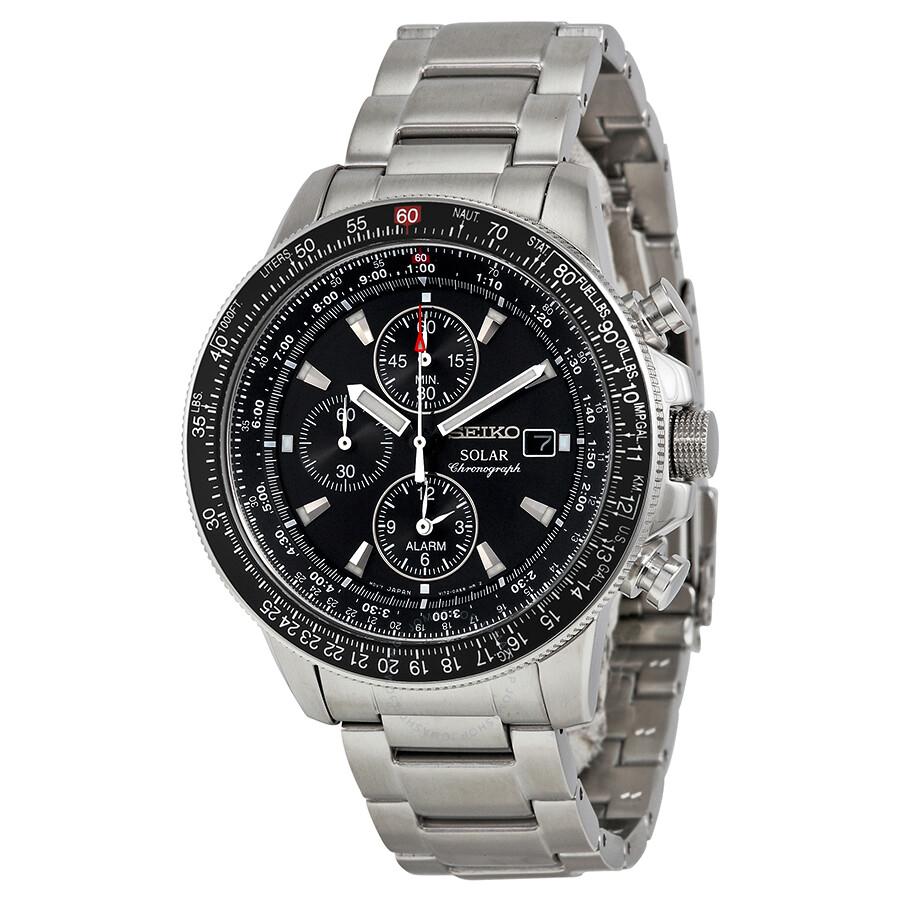Seiko prospex solar black dial alarm chronograph men 39 s watch ssc009 solar seiko watches for Seiko solar