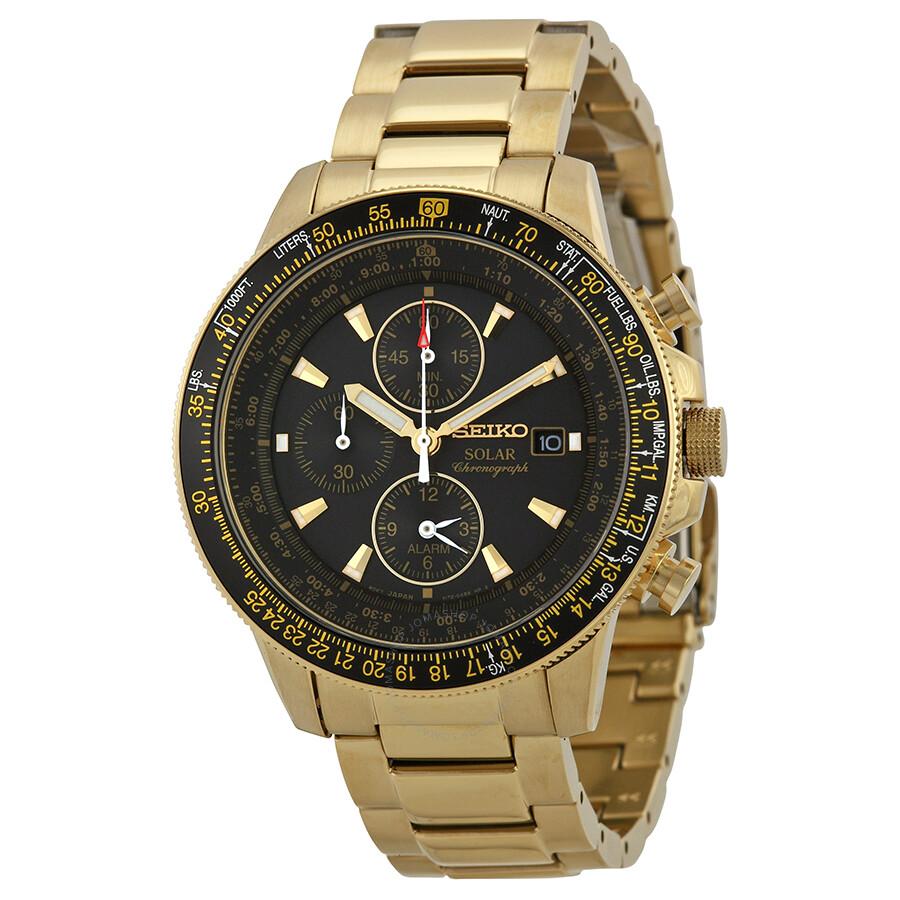 seiko-prospex-solar-black-dial-gold-tone