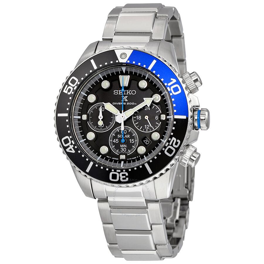 Seiko prospex solar divers black dial stainless steel men 39 s watch ssc017 prospex seiko for Seiko solar