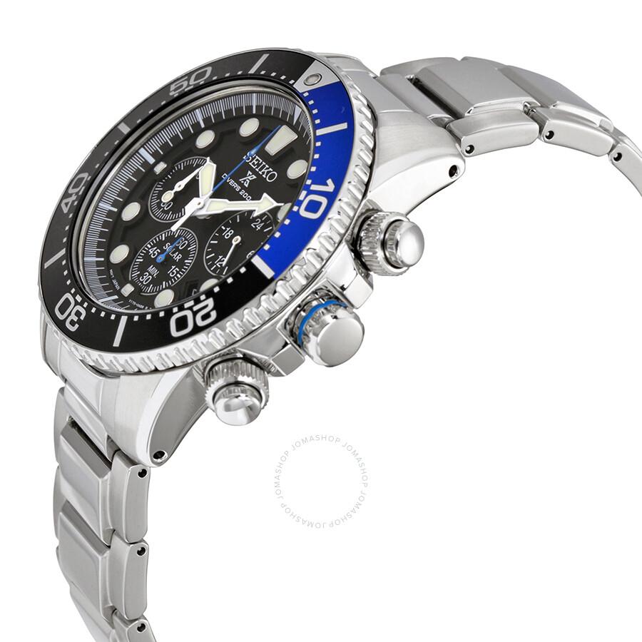 Seiko Prospex Solar Divers Black Dial Stainless Steel Men's Watch SSC017