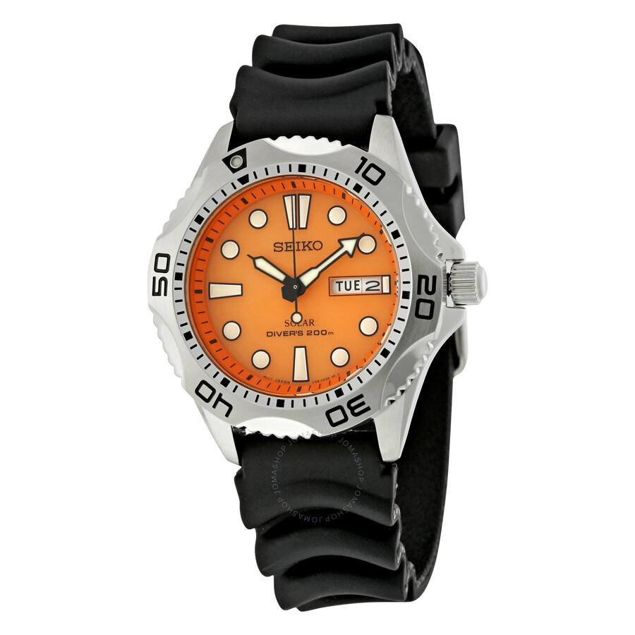 Seiko prospex solar quartz dive orange dial men 39 s watch - Orange dive watch ...