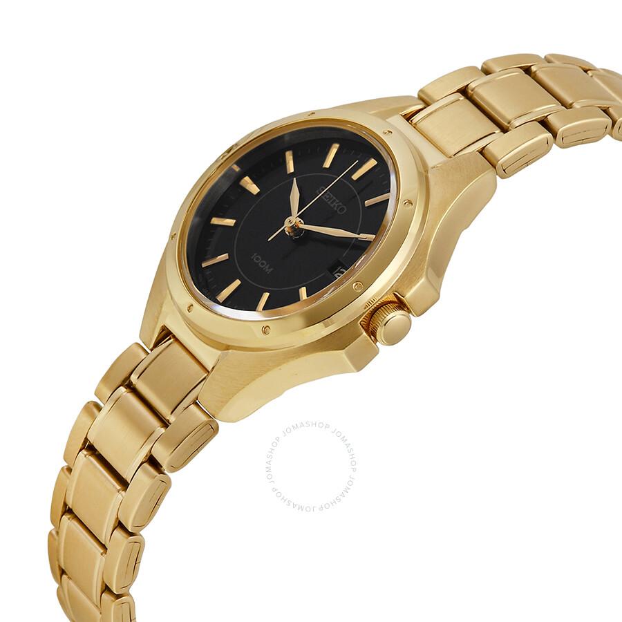 Seiko quartz black dial gold tone ladies watch sxde18 stainless steel seiko watches jomashop for Gold dial ladies watch