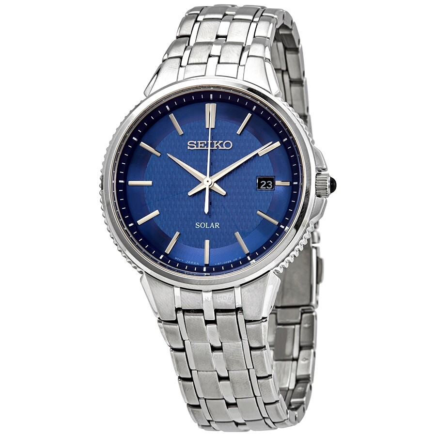 Seiko Solar Quartz Blue Dial Stainless Steel Men S Watch Sne507