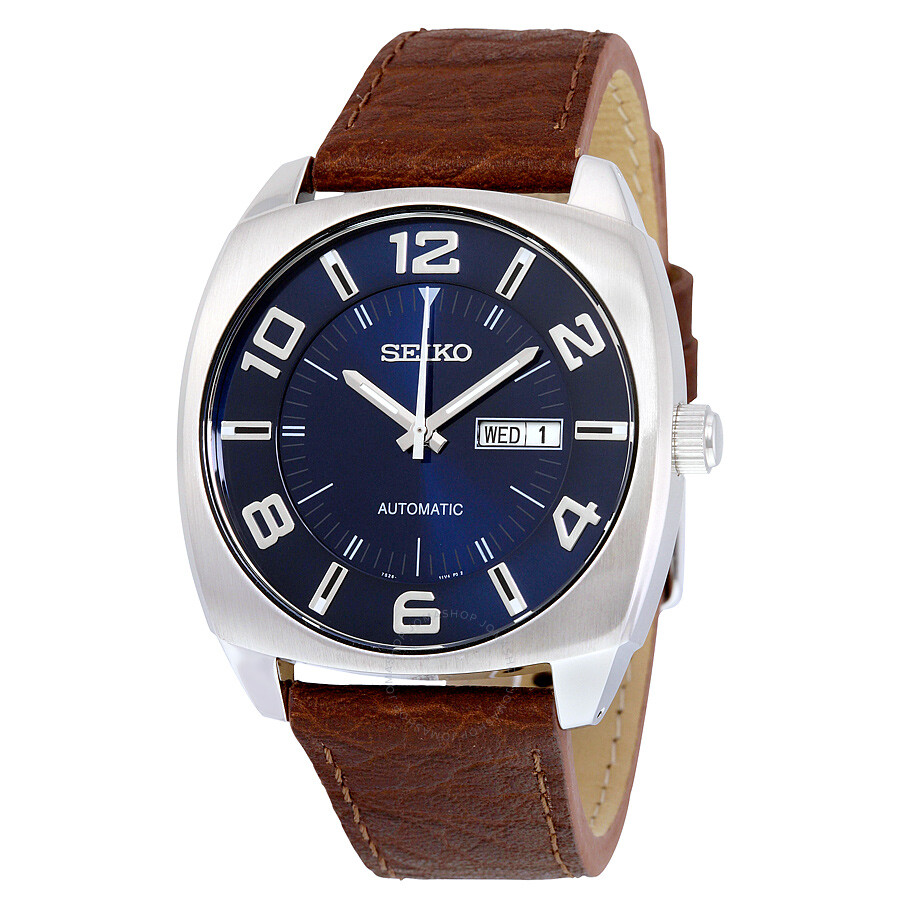 Seiko recraft automatic blue dial brown leather men 39 s for Michaels craft store watches