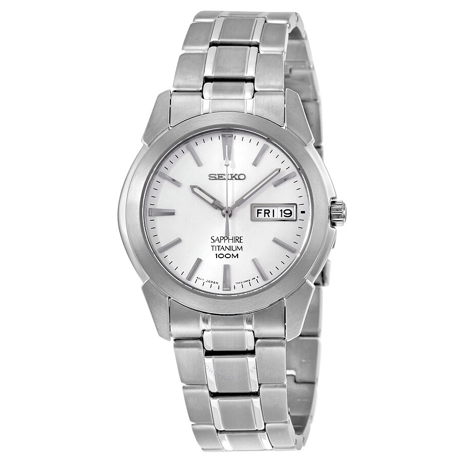 Seiko sapphire white dial titanium men 39 s watch sgg727p1 titanium seiko watches jomashop for Titanium watches
