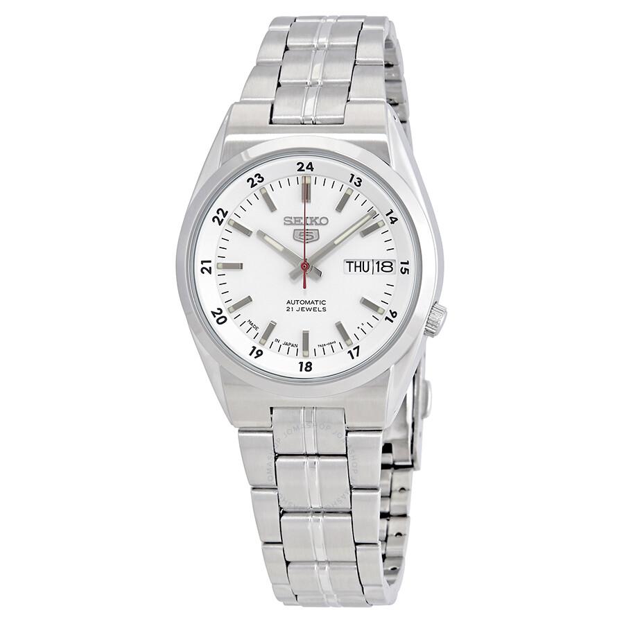 ceb0027b4 Seiko Series 5 Automatic Date-Day White Dial Men's Watch SNK559J1 ...