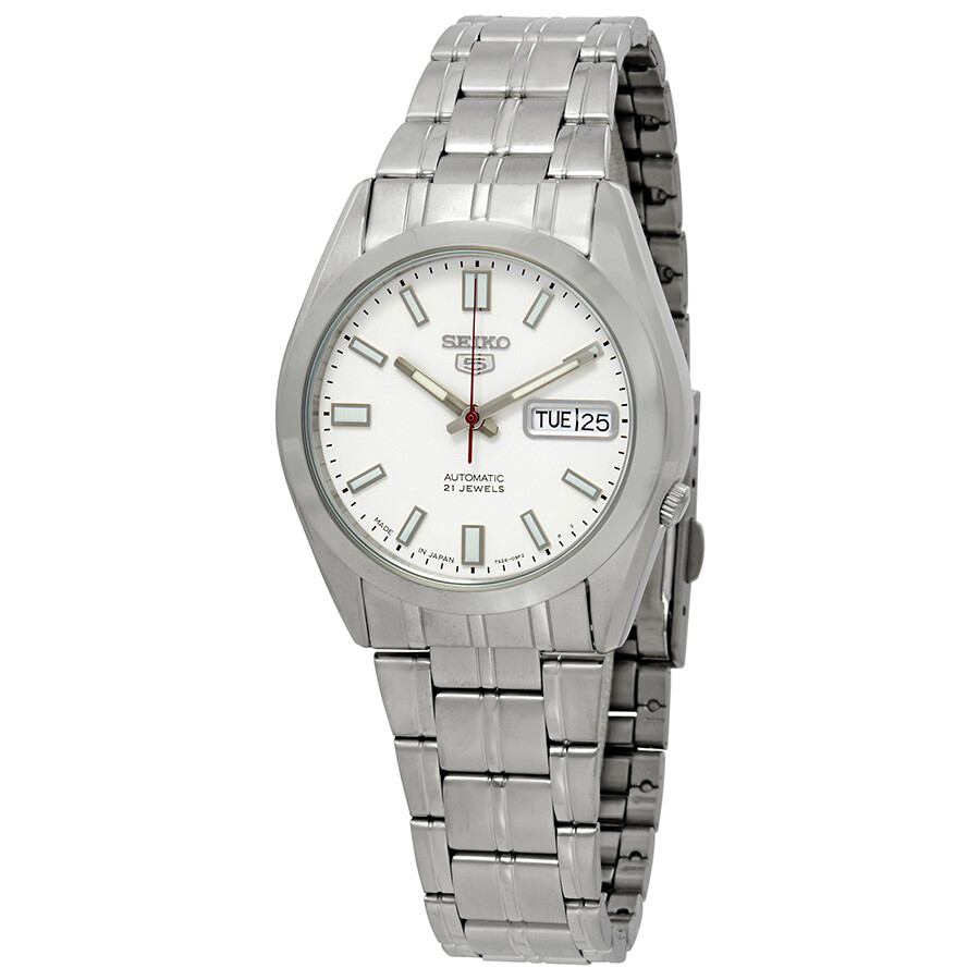be8559356 Seiko Series 5 Automatic Date-Day White Dial Men's Watch SNKE79J1 ...
