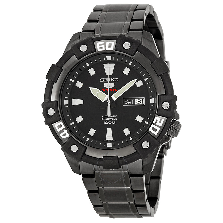 Seiko Series 5 Black Dial Black Ion Plated Men S Watch Srp477