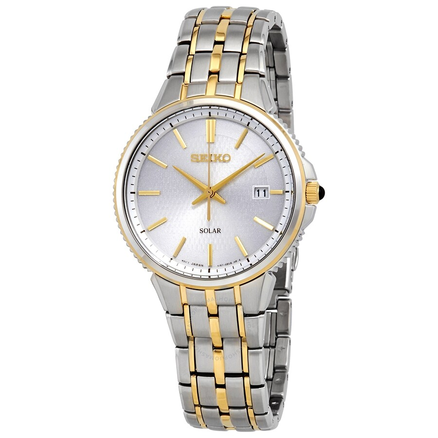 Seiko Solar Silver Dial Two Tone Men S Watch Sne508 Solar