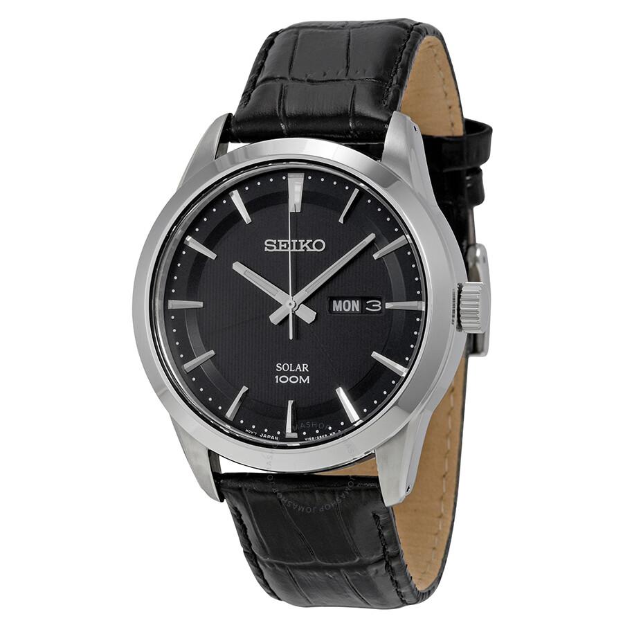 Seiko solar black dial black leather men 39 s watch sne363p2 solar seiko watches jomashop for Seiko solar