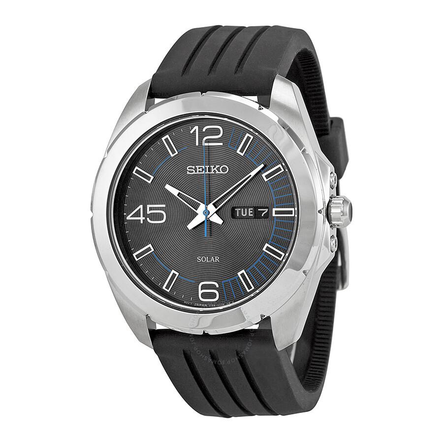 Seiko solar black dial black rubber strap men 39 s watch sne277 solar seiko watches jomashop for Rubber watches