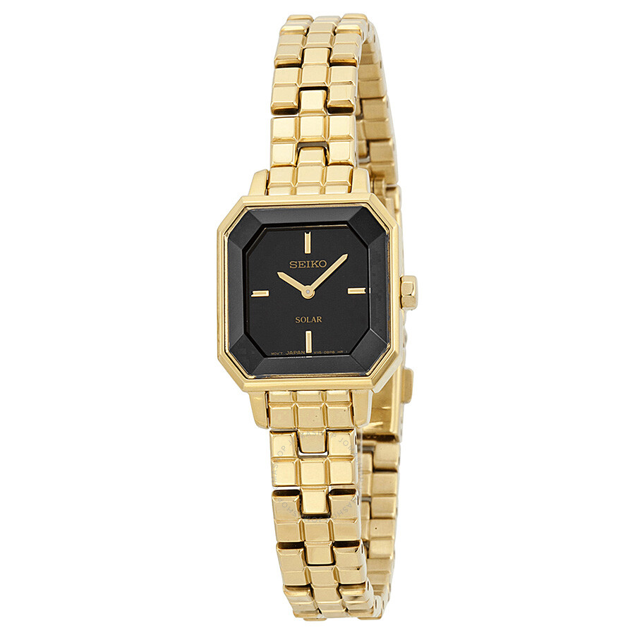 Seiko Solar Black Dial Gold-Tone Stainless Steel Ladies Watch SUP196 ... 81a4cae0d3