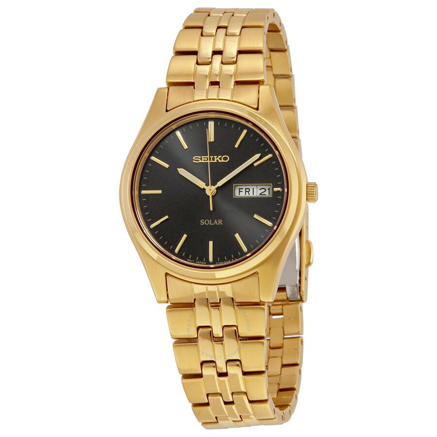 Seiko solar black dial men 39 s watch sne044 solar seiko watches jomashop for Seiko solar