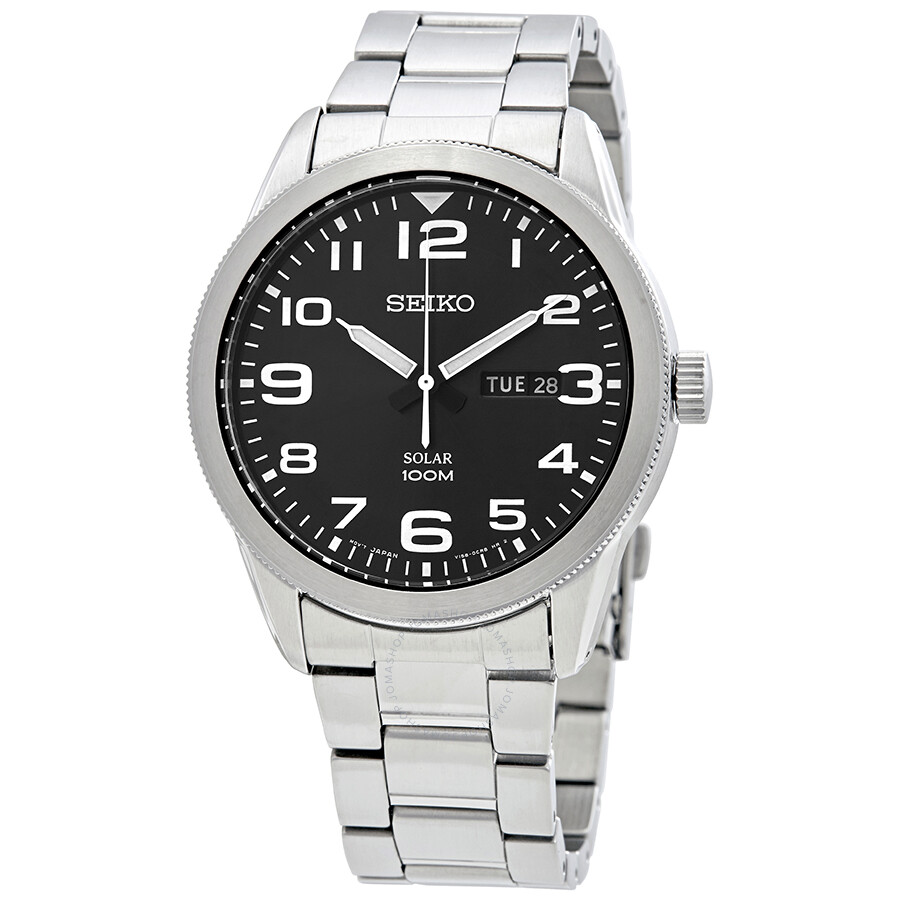 Seiko solar black dial men 39 s watch sne471p1 solar seiko watches jomashop for Seiko solar