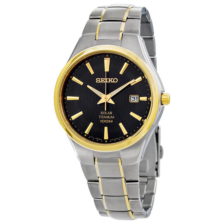 Seiko solar black dial two tone titanium men 39 s watch sne382 solar seiko watches jomashop for Seiko solar