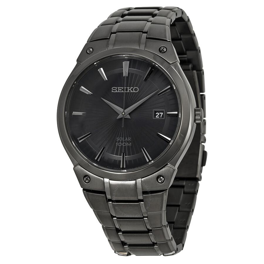 Seiko solar black sunray dial black ion plated men 39 s watch sne325 solar seiko shop watches for Seiko solar