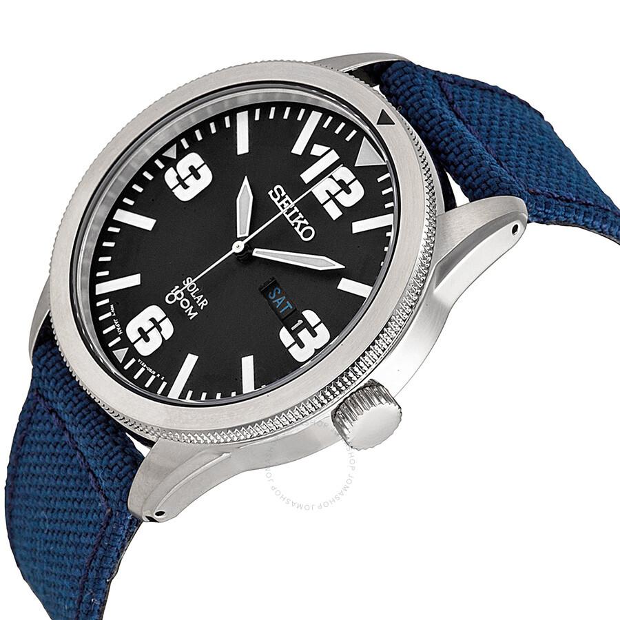 Seiko solar blue dial blue nylon men 39 s watch sne329 solar seiko watches jomashop for Seiko solar
