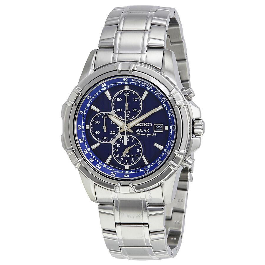 Seiko Solar Alarm Chronograph Blue Dial Men S Watch Ssc141 Solar