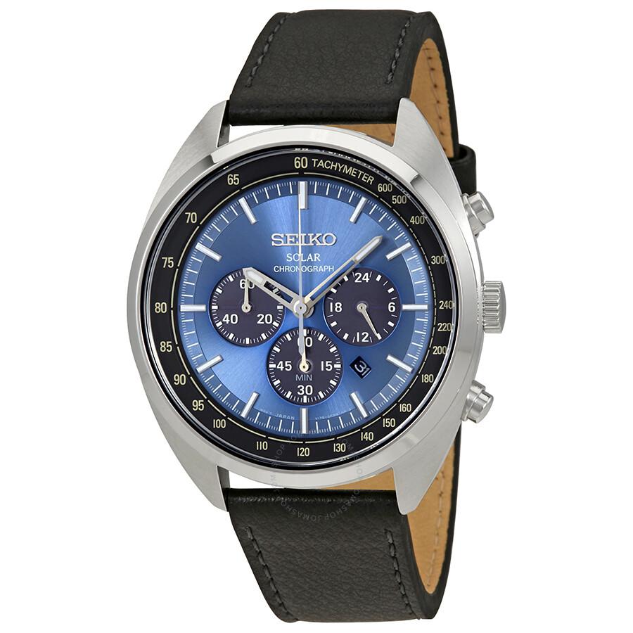 Seiko solar chronograph blue dial men 39 s watch ssc625p1 solar seiko watches jomashop for Seiko solar