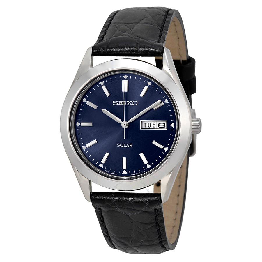 Seiko solar blue dial men 39 s watch sne049 solar seiko watches jomashop for Seiko solar