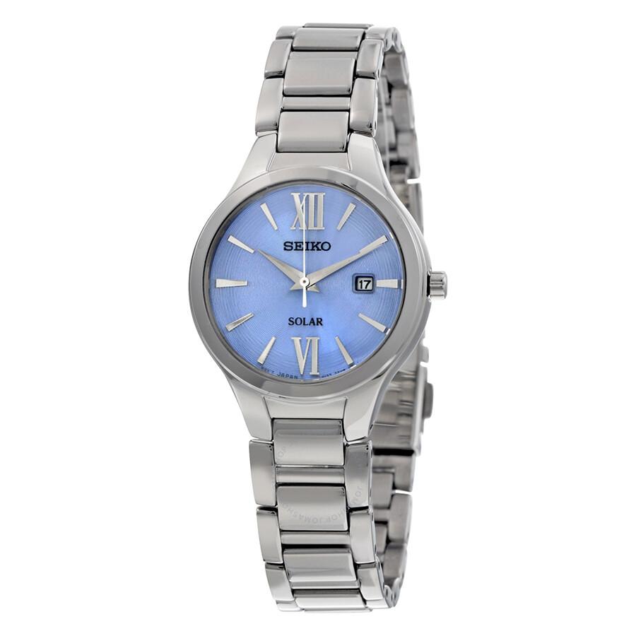 Seiko solar blue dial stainless steel ladies watch sut209 solar seiko watches jomashop for Seiko solar