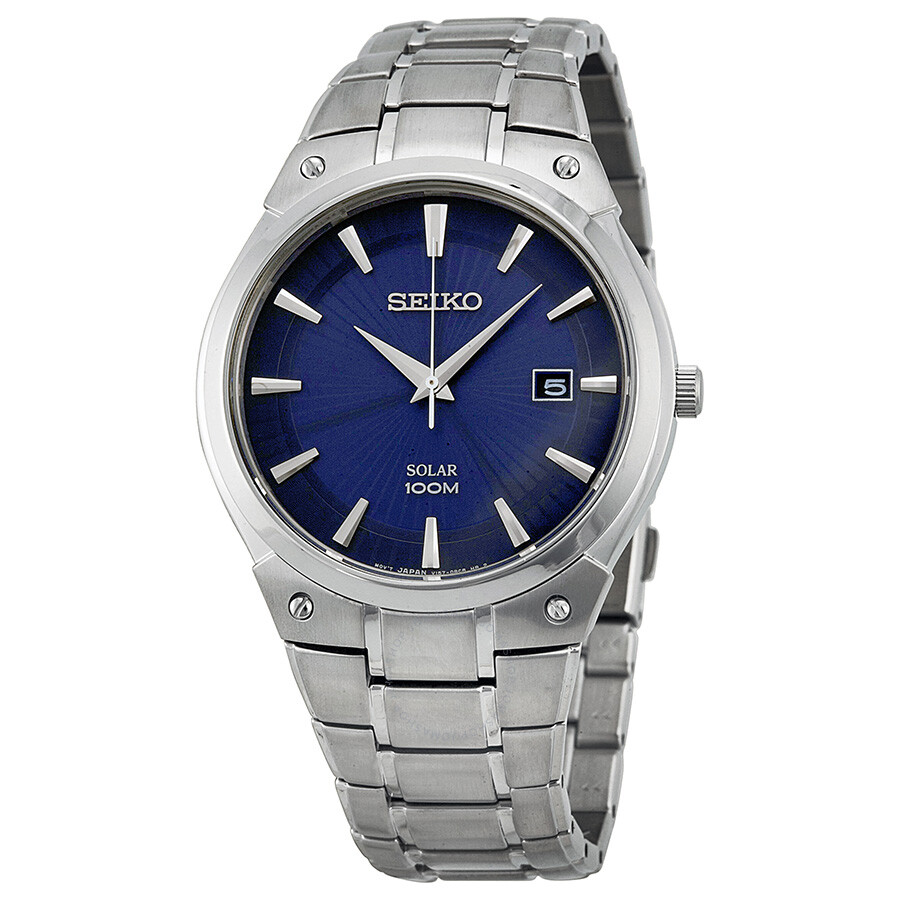 Seiko solar blue dial stainless steel men 39 s watch sne323 solar seiko watches jomashop for Solar watches